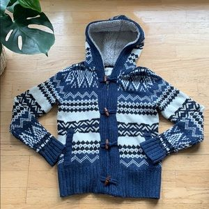 Blue Wool Button Up Sweater